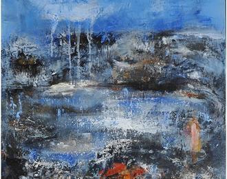 Bleu ! Peintures qui éclaboussent, marins de pierre, poissons sculptés avec matériel recyclé : la mer vue par 2 artistes.