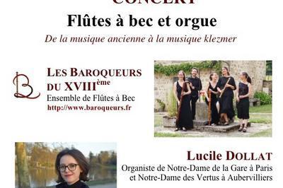 Concert flûtes à bec et orgue : de la musique ancienne à la musique klezmer à Epinay sur Orge