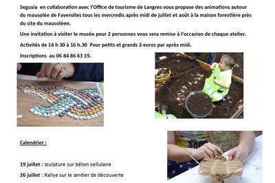 Ateliers Rallye, Fouilles, Fabrication De Lampe À Huile, D'amulettes En Stéatite, De Mosaïque, Vannerie Sauvage à Faverolles