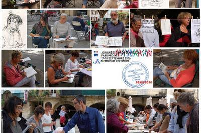 Carnets De Croquis Du Patrimoine : Rencontre De Carnettistes. L'atelier Invite Les Carnettistes Pour 3 Jours De Croquis Sur Site à Sommieres