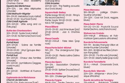 Fête de la musique de Chartres, programme détaillé !