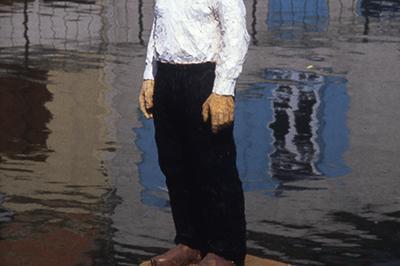 Retour de l'œuvre de Balkenhol « L'Homme sur sa bouée » à Amiens