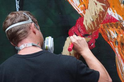 Steet-art // Le martin-pêcheur d'A-MO à Nantes