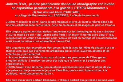 Juliette B'Art peintre,exposition permanente et arteliers à Paris 18ème