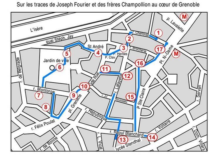 Circuit «sur Les Traces De Joseph Fourier Et Des Frères Champollion» Au Coeur De Grenoble.