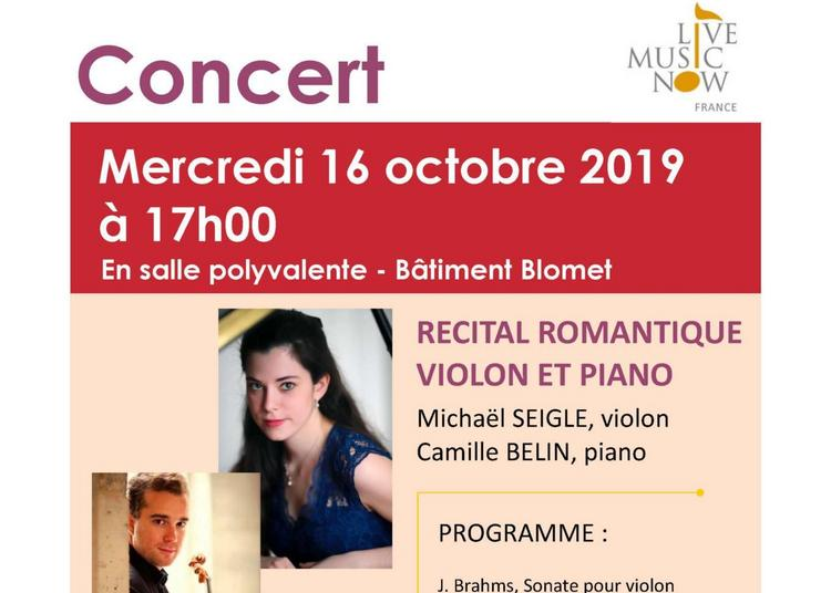 Concert - Récital Romantique Violon et Piano à Paris 15ème