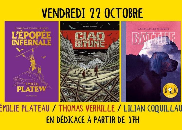 Émilie Plateau, Thomas Verhille et Lilian Coquillaud en dédicace à Montpellier