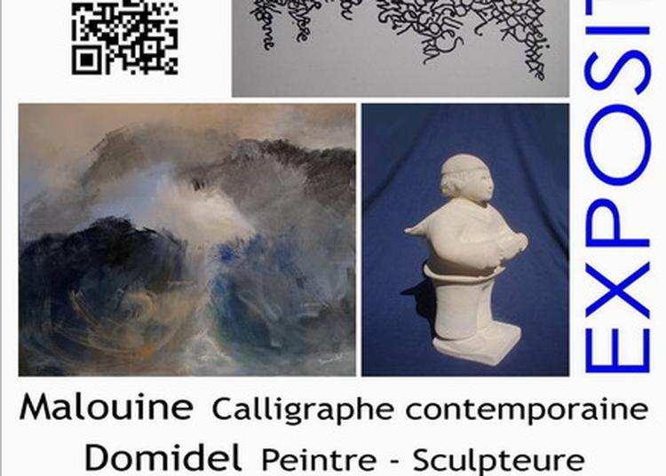 Exposition calligraphie de Malouine et peinture-sculpture de Domidel à la salle du Parc à Barneville Carteret