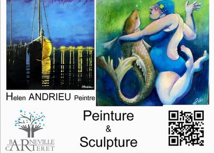 Exposition peintures et sculptures de Helen Andrieu et Marie-Noëlle Lapouge à la salle du Parc à Barneville Carteret