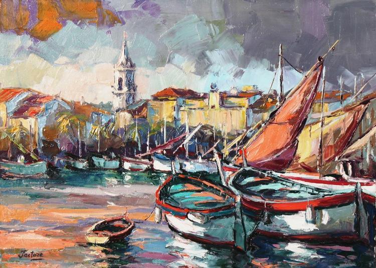 Exposition de peinture à l'huile au couteau. à Sanary sur Mer