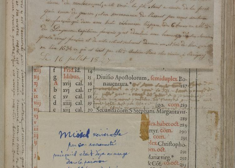 Missel De 1589 Restauré En 2017 Comportant Une Annotation Manuscrite Précieuse. à Revigny