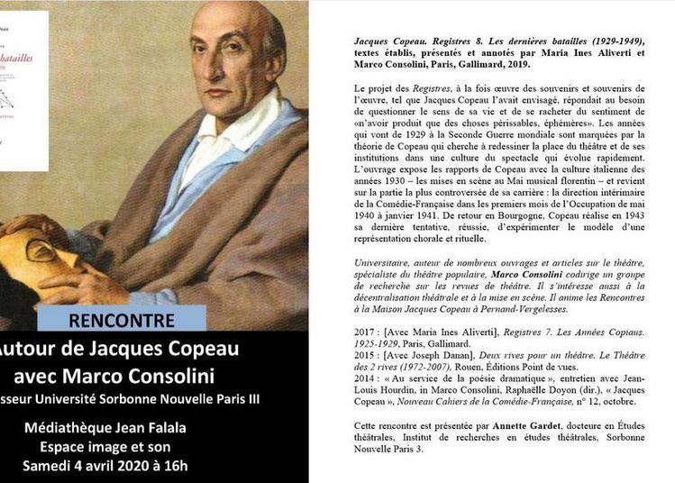 Rencontre avec Marco Consolini co-auteur des Registres de Jacques Copeau à Reims