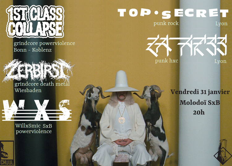 1st Class Collapse, Zebirst, Top Secret, La Hess & WillxSmic à Strasbourg