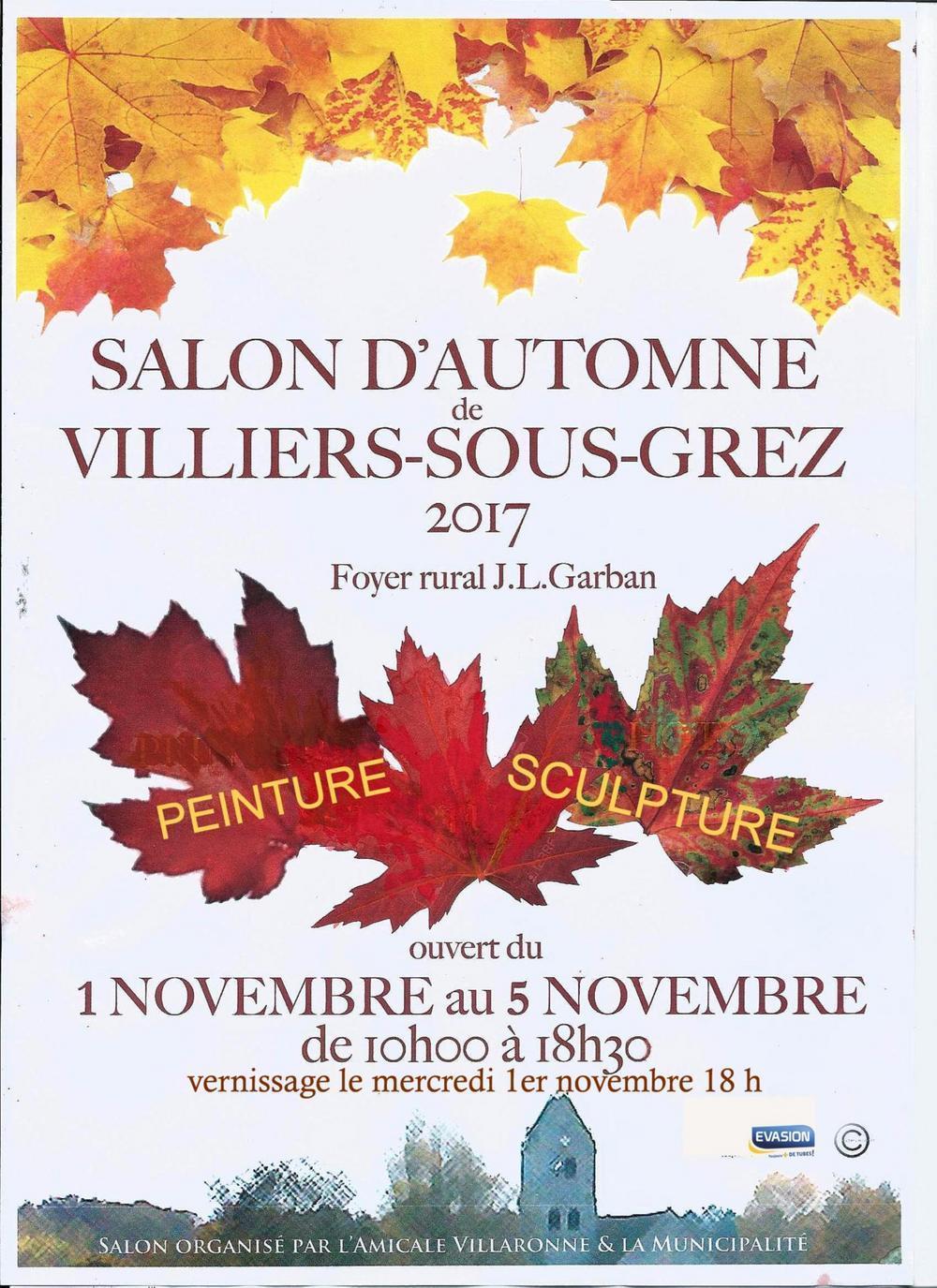 exposition salon d 39 automne villiers sous grez mercredi